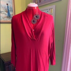 Talbots Women Red Rouched V- neck Stretch T sz 1X